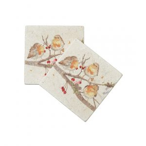 The Berry Branch Coasters (pair) - Winter Collection by Kate of Kensington