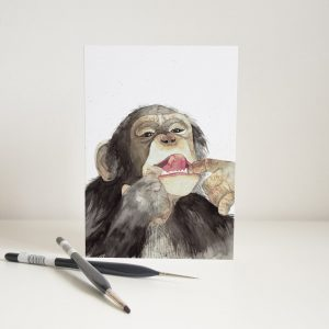 Watercolour Cheeky Chimp Card - Thorns & Roseway