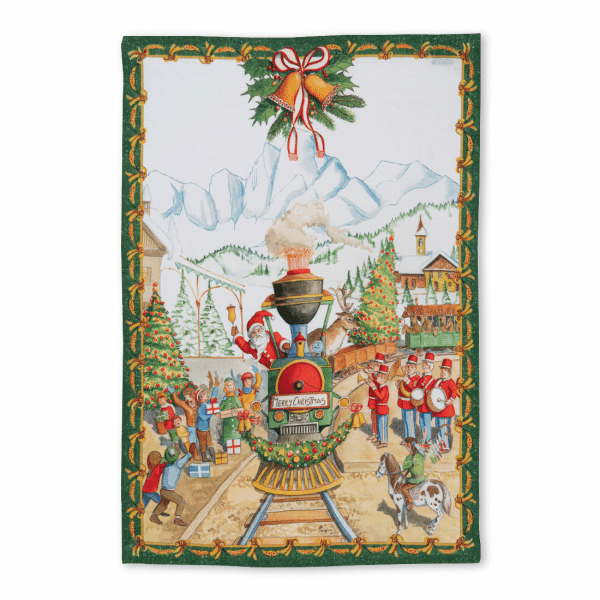 Christmas Express Linen Tea Towel Made in Italy
