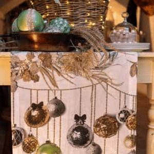 Glitter Christmas Table Runner 100% Linen Made in Italy
