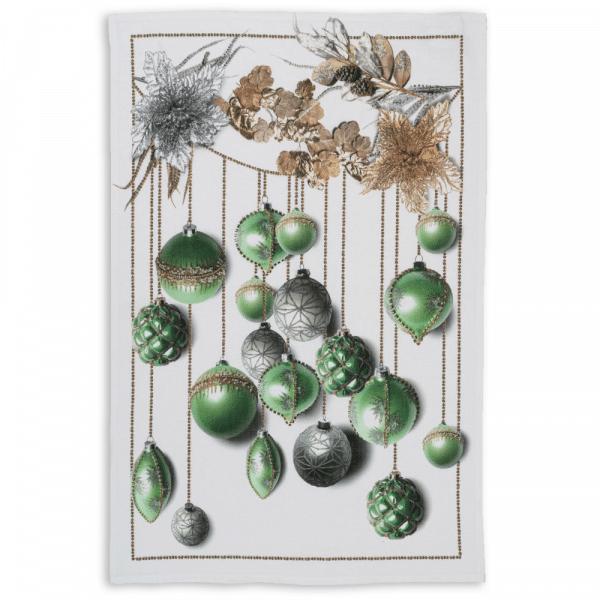 Glitter Christmas Tea Towel Verde Made in Italy
