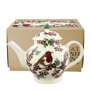 Hawthorn Berries & Robin 4 Mug Teapot