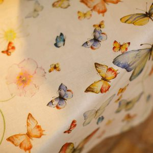 Papillon Square Tablecloth 100% Linen Made in Italy