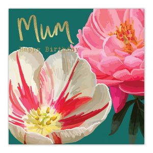 Happy Birthday Mum Pink White Gold Greetings Card By Sarah Kelleher