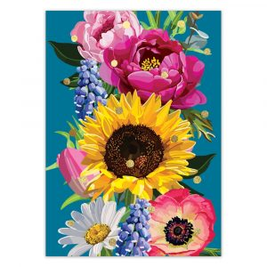 Sunflower Floral Foil Greetings Card by Sarah Kelleher