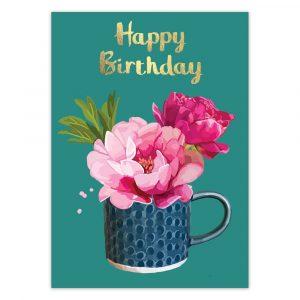 Happy Birthday Peony Mug Foil Greetings Card by Sarah Kelleher