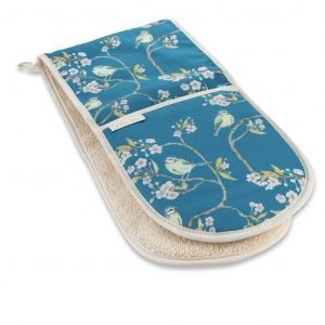 Blue Tit on Blossom Double Oven Glove by Mosney Mill